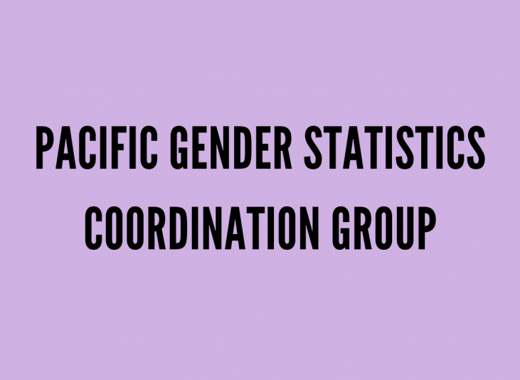 """Purple background with black text """"Pacific Gender Statistics Coordination Group"""""""