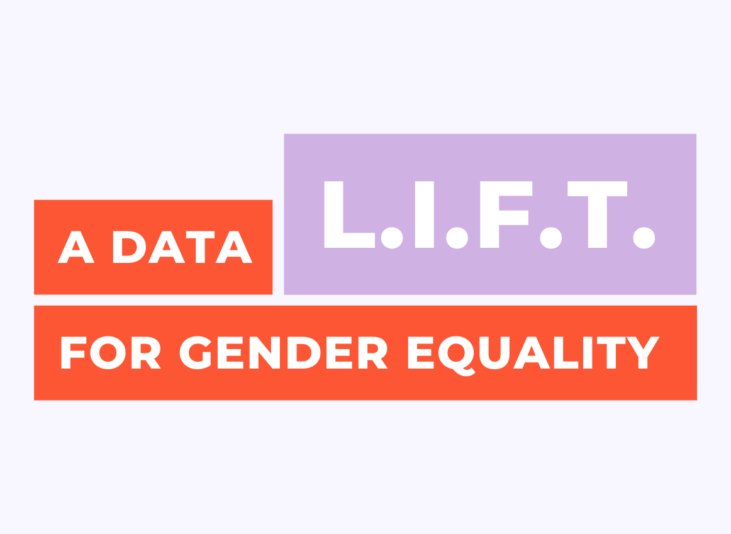 """Orange and purple text reads """"A Data LIFT for gender equality"""