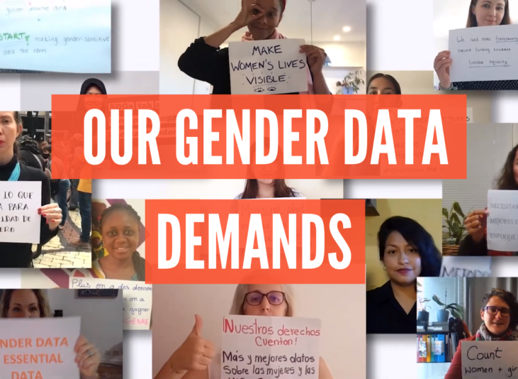 Screenshot of people holding signs with their gender data demands